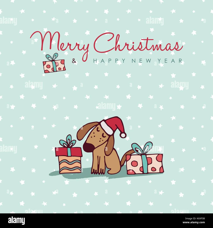 Frohe Weihnachten Frohes Neues Jahr Hand Gezeichneten Hund Grusskarte