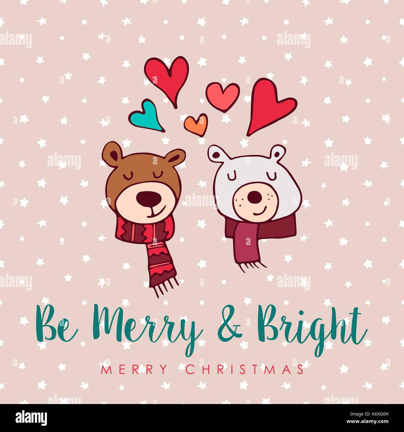 Frohe Weihnachten Liebe.Frohe Weihnachten Hand Gezeichnet Tragen Grusskarte Abbildung
