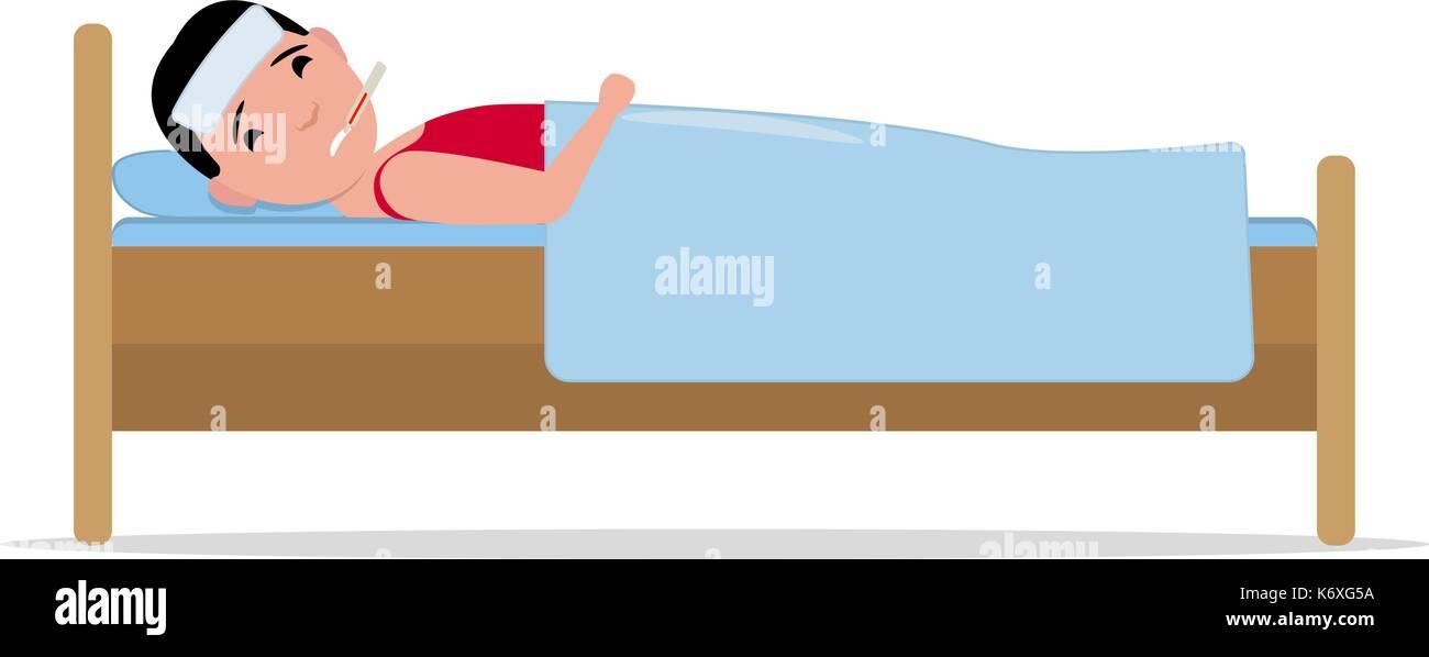 Vektor Cartoon Krank Kranken Mann Im Bett Liegt Mit Grippe Vektor
