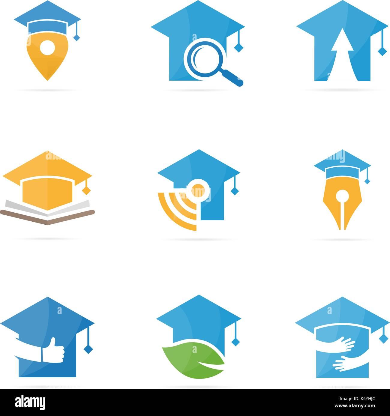 Der Absolvent Hat Logo Kombination Schule Und Hochschule Symbol Oder Icon Einzigartige Studie Bildung Design Template