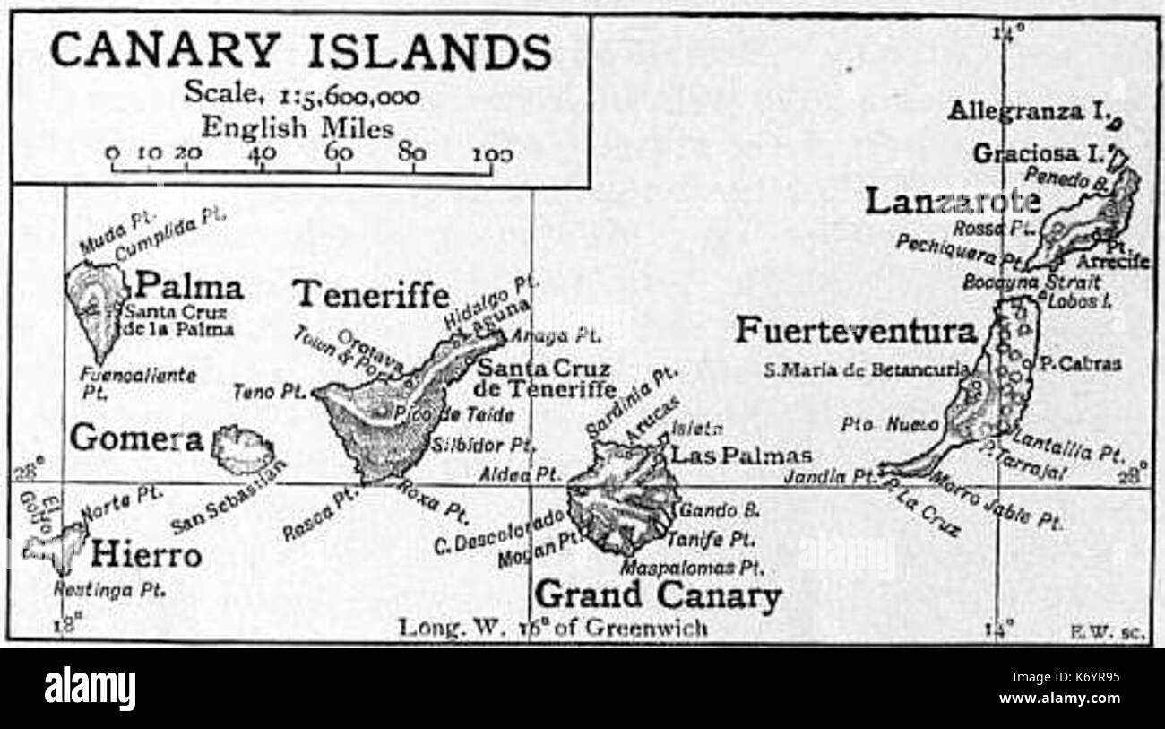Kanaren Inseln Karte.Kanarische Inseln Karte Stockfotos Kanarische Inseln Karte Bilder
