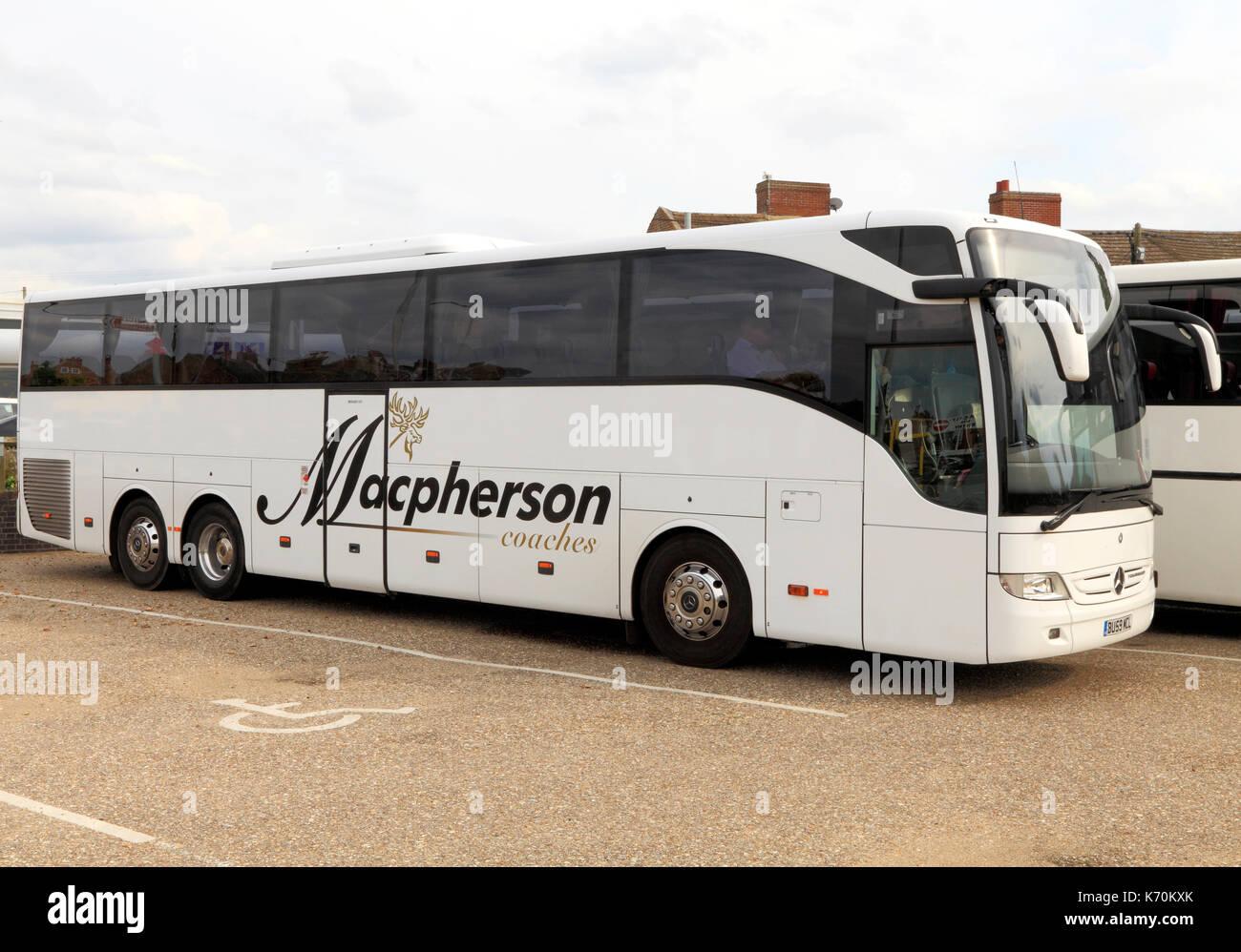 Macpherson Coaches, Trainer, Ausflug, Ausflüge, Ausflug, Ausflüge, Reisen unternehmen, Unternehmen, Verkehr, Reisen, Urlaub, Ferien, England, Großbritannien Stockbild