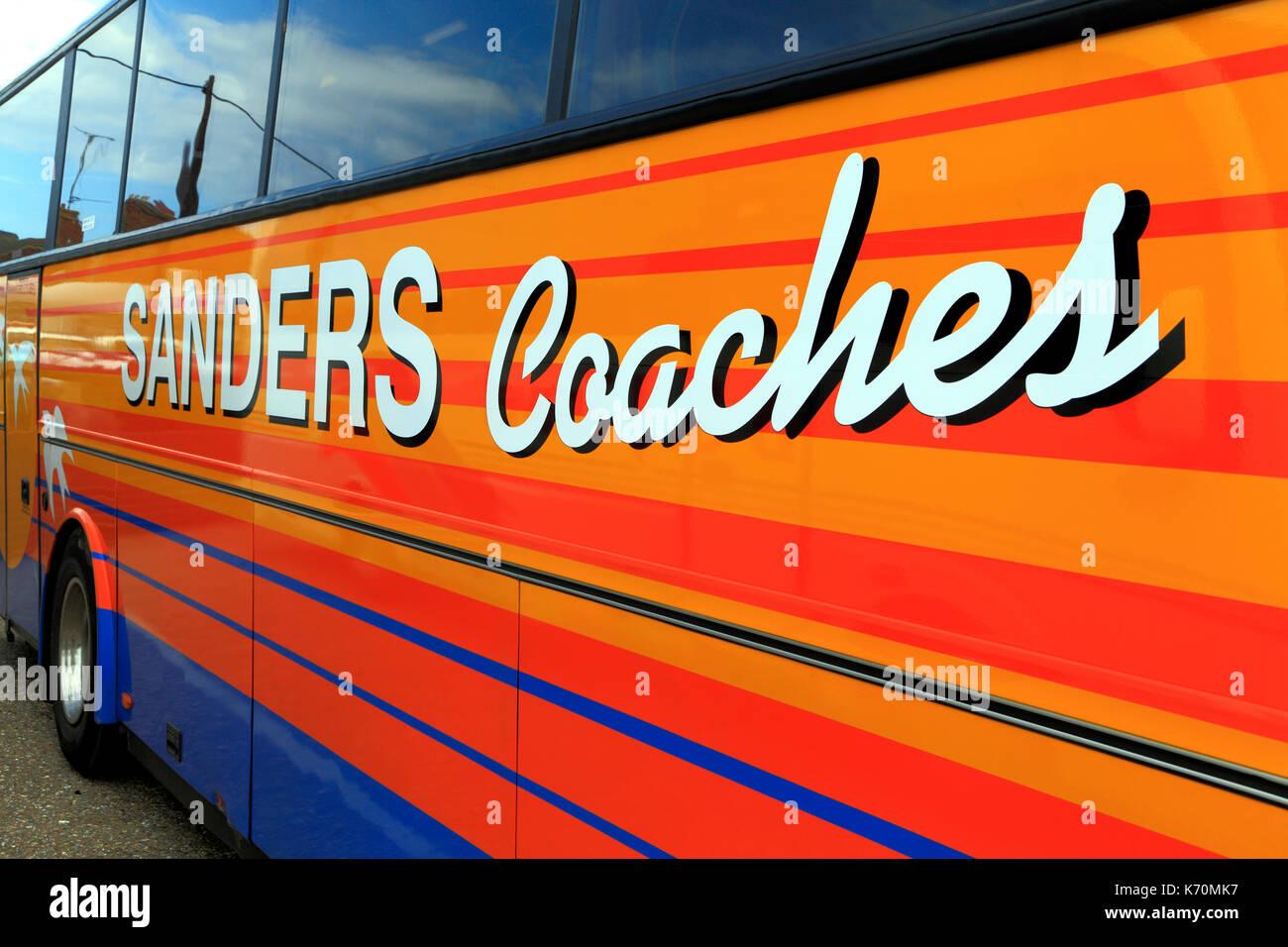 Sanders Coaches, Trainer, Tagesausflüge, Reise, Ausflug, Ausflüge, Ferien, Urlaub, Reisen, Verkehr, England, Großbritannien Stockbild