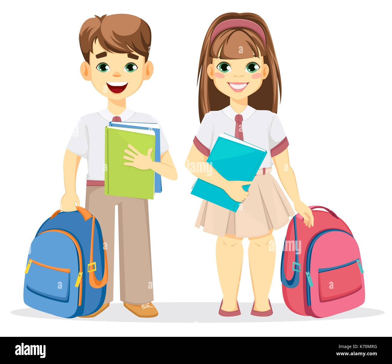 Sch ler und sch lerin mit rucksack und lehrb cher zur ck for Nett babyzimmer madchen und junge