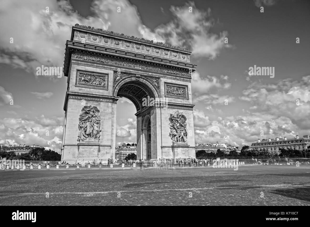 Arc de Triomphe auf der Champs Elysees Stockbild