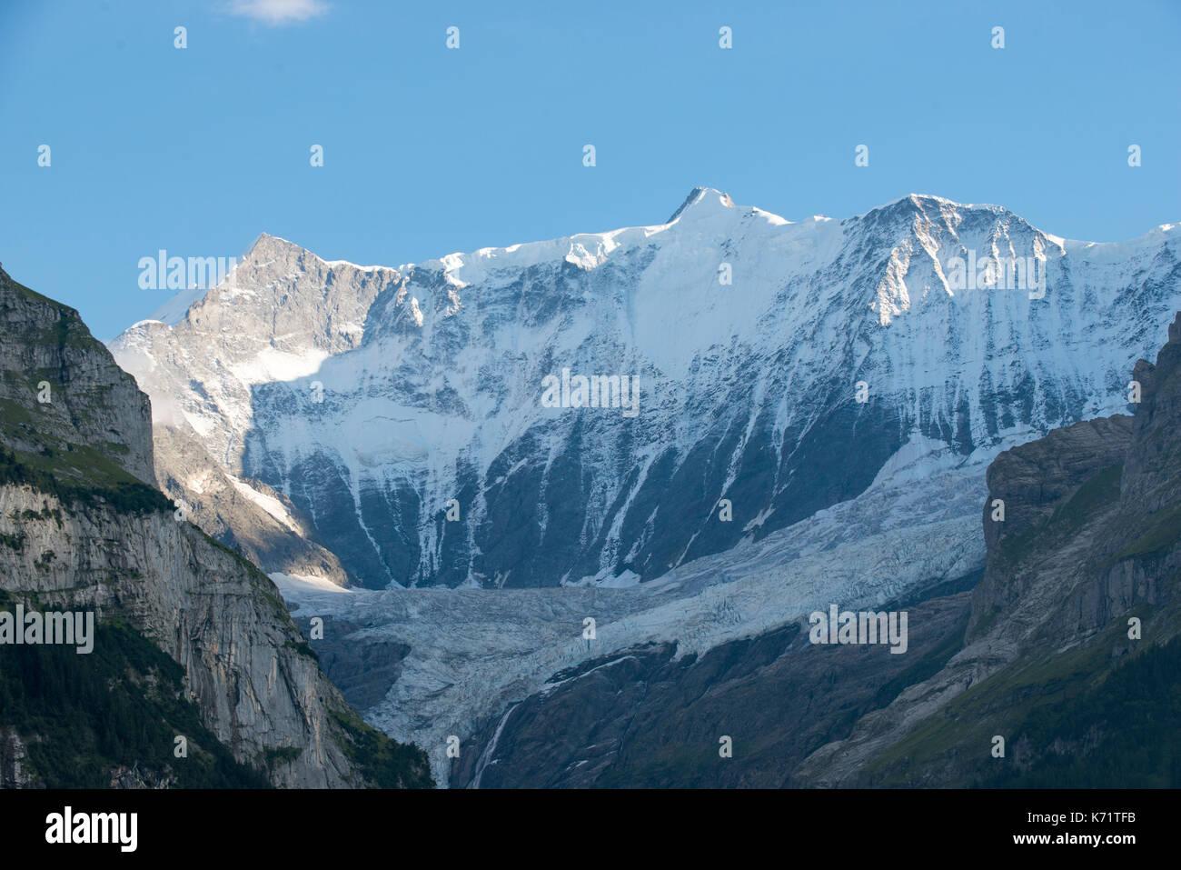 Blick in das Tal der Untere Grindelwald Gletscher (Gletscher), Grindelwald, Schweiz Stockbild