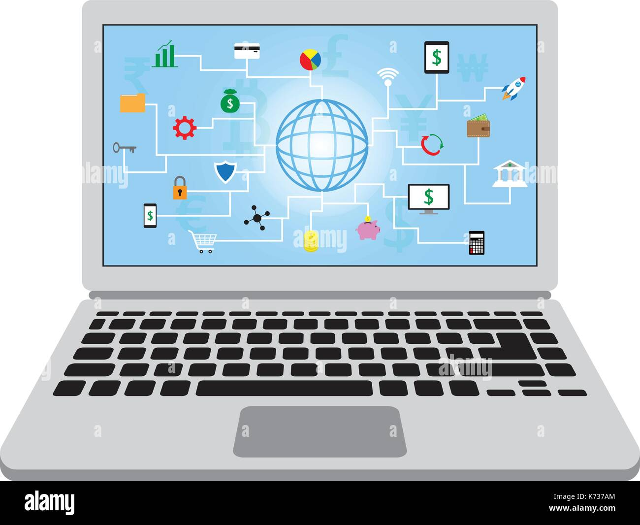 22 fintech Symbole rund um einen Globus mit blauen Hintergrund und mehrere Währungen in einem Laptop Bildschirm, die in der Technologie. Stockbild
