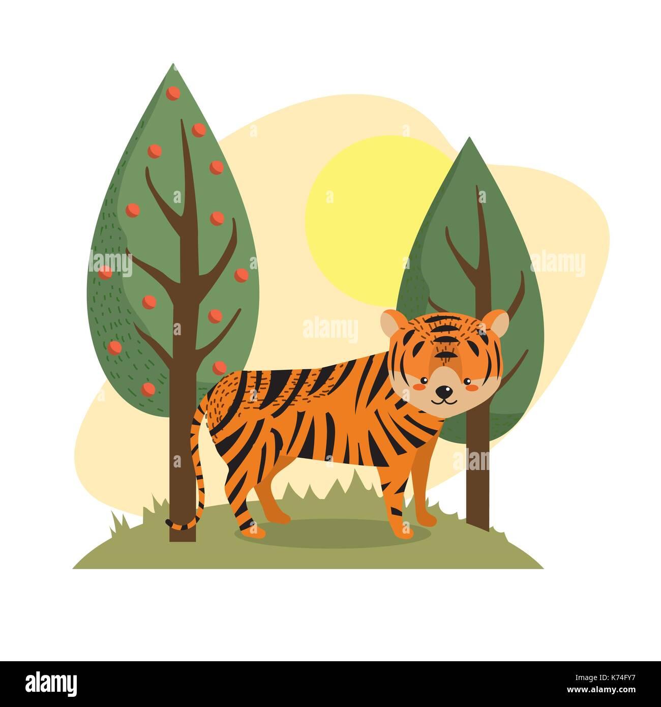Vector Illustration Tiger Cartoon Stockfotos & Vector Illustration ...