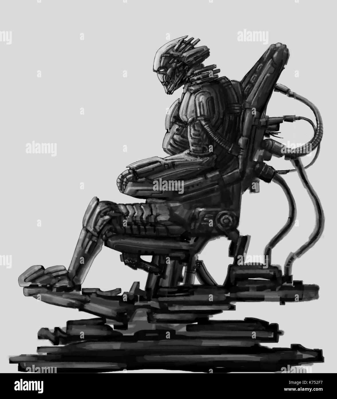 Dark Lord sitzt im Anzug auf seinem Thron. science fiction Illustration. ursprünglichen Charakter der alien Astronaut im Weltraum Body Armour. Freehand digital Stockbild