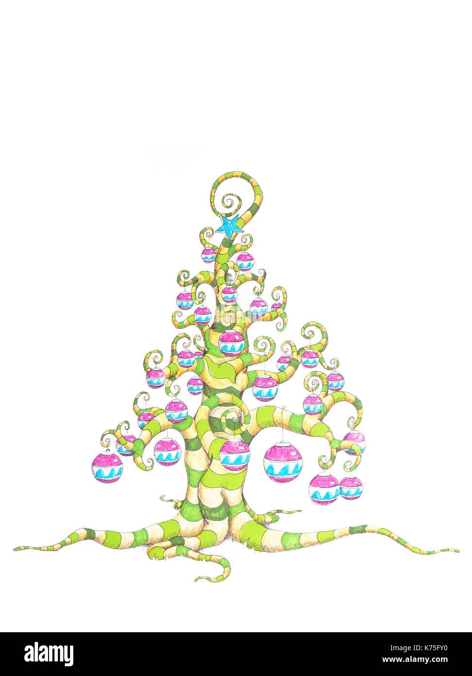 Weihnachtsbaum Comic.Comic Weihnachtsbaum Handgefertigte Abbildung In Buntstift Und