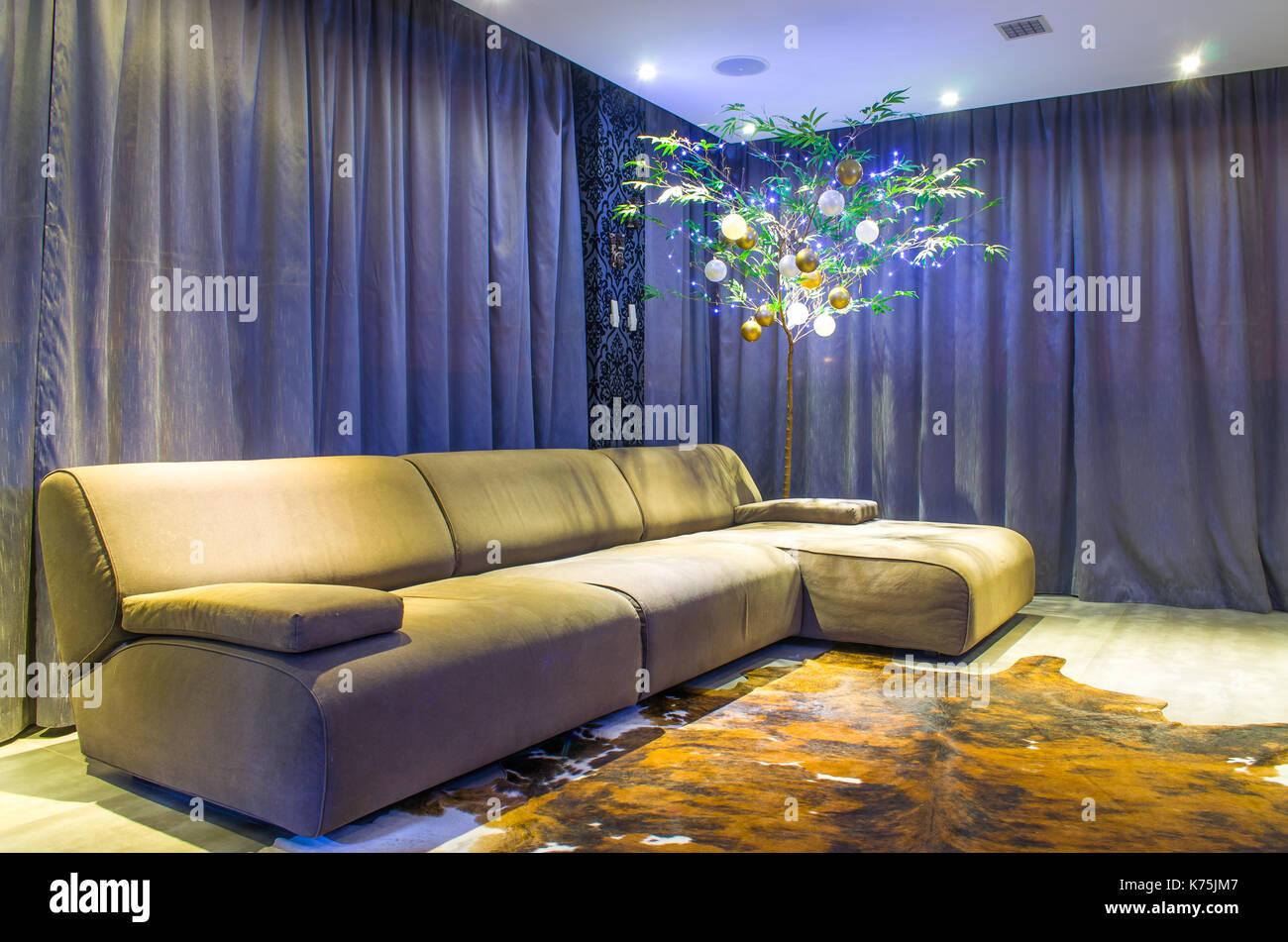 Weihnachtsbeleuchtung Wohnzimmer.Schönes Wohnzimmer Mit Modernen Weihnachten Dekoration Bambus Mit