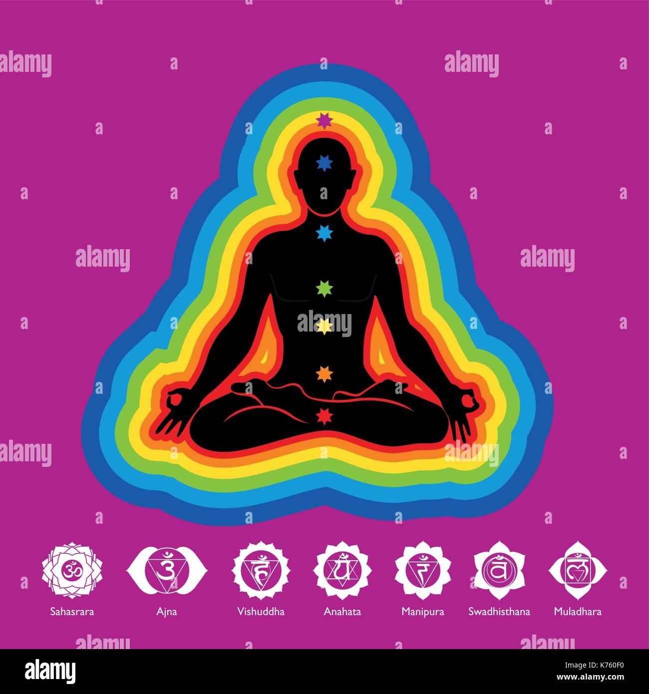 Farben Der Aura.Schwarze Silhouette Des Menschen Yoga In Lotus Flower