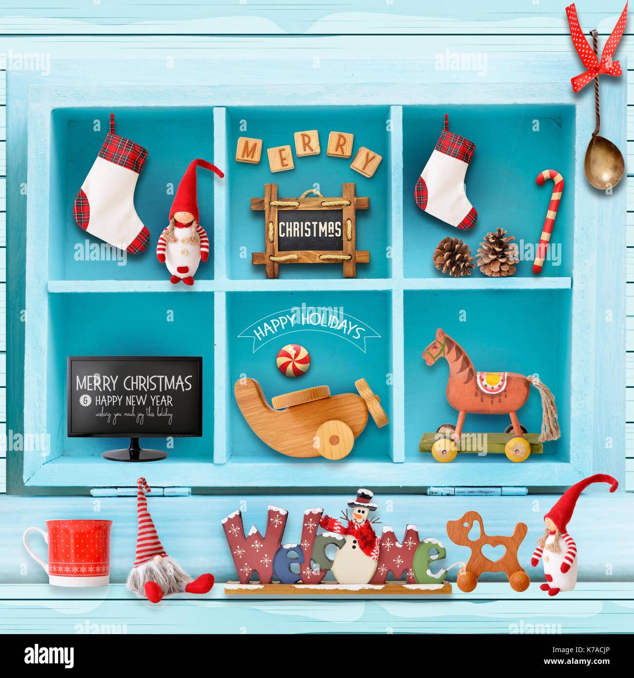 Weihnachten Grusskarten Mit Xmas Elemente In Blauen Schrank
