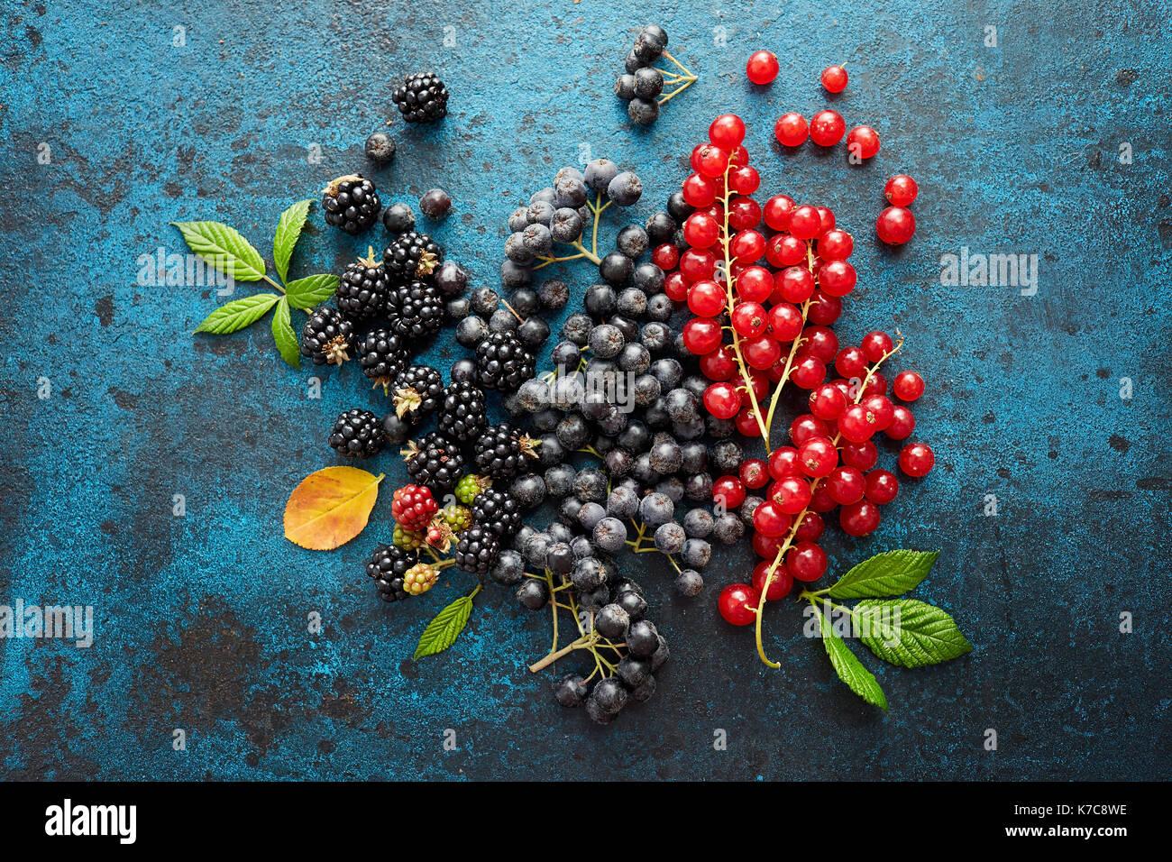 Verschiedene frische Beeren mit Blättern auf Metall Hintergrund. Mischung aus frischen Beeren mit Blättern auf strukturierte Metall Hintergrund. Stockbild