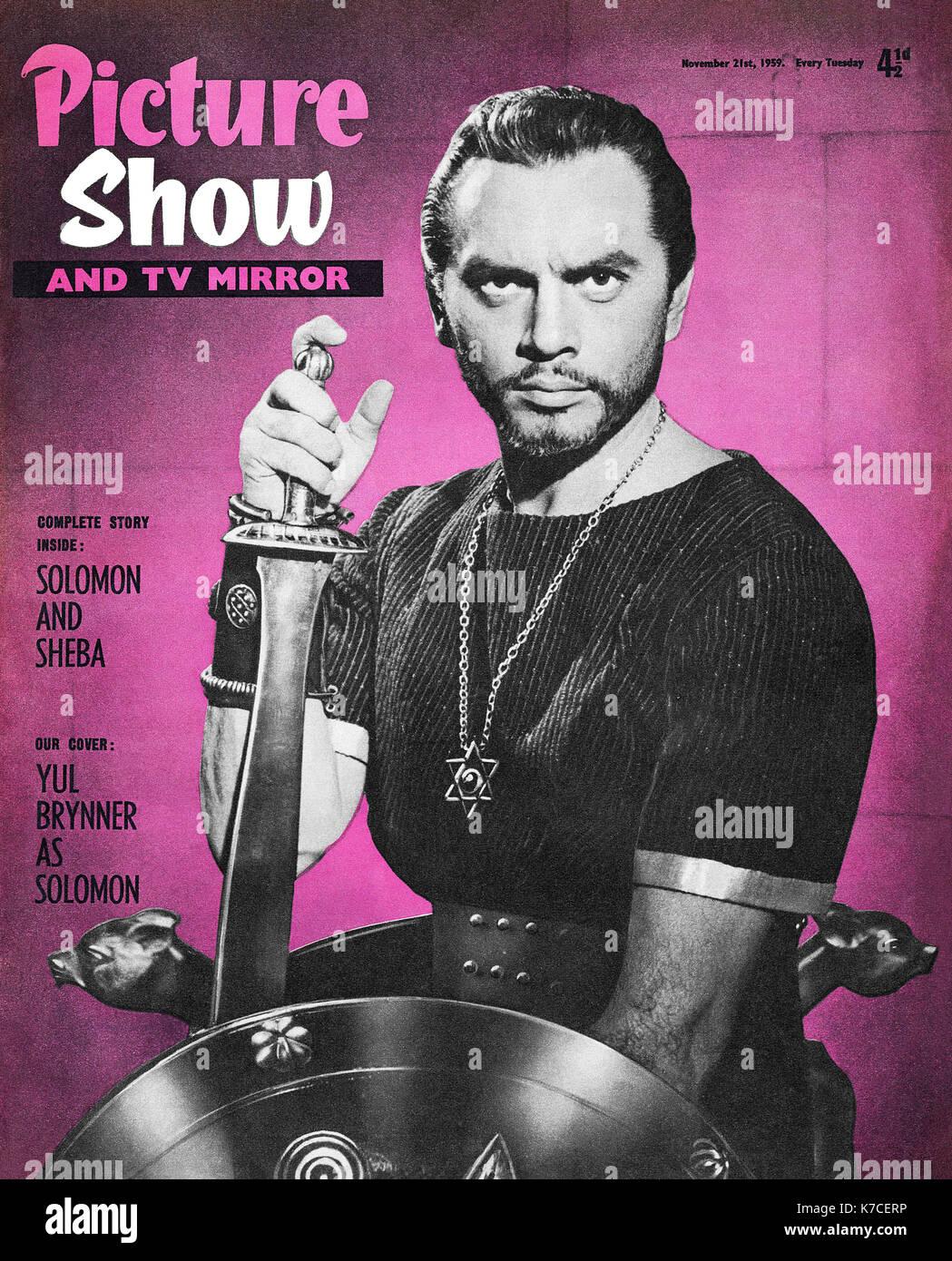 Vintage Abdeckung an der Vorderseite von Picture Show Magazin vom 21. November 1959 mit Yul Brynner in Solomon und Stockbild