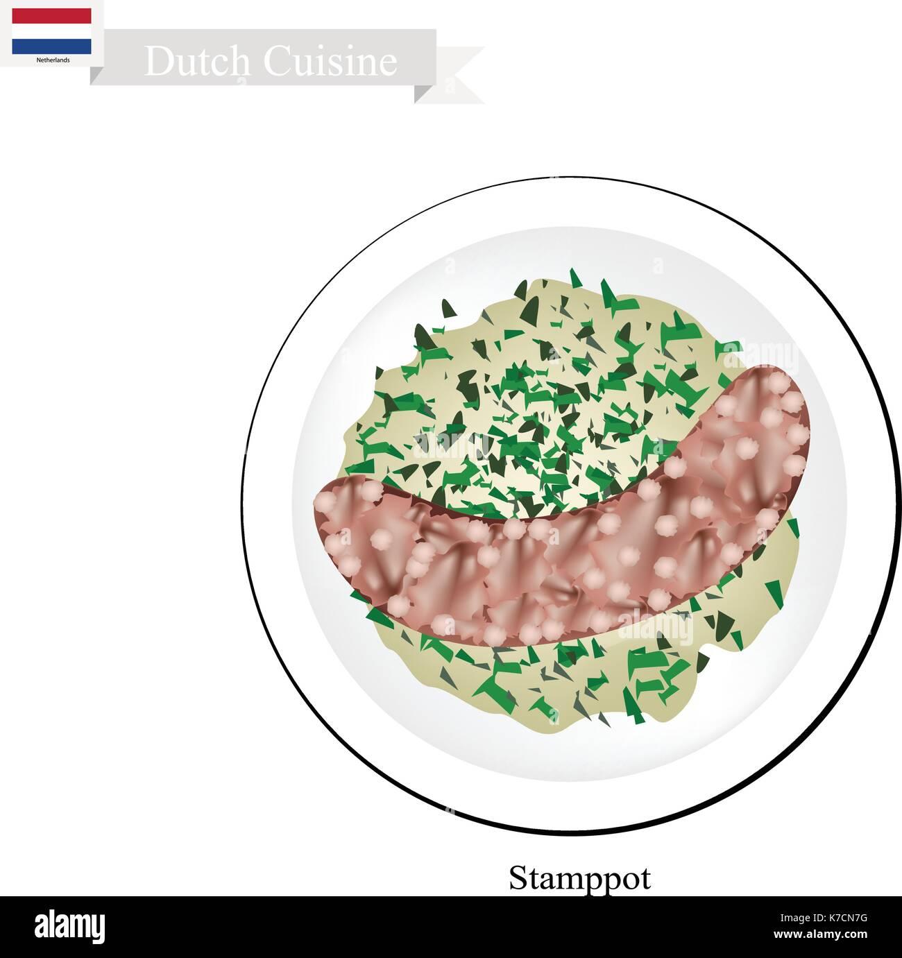 Niederländische Küche, Illustration Der Traditionellen Stamppot Oder  Kartoffelpüree Und Grünkohl Serviert Mit Rookworst Oder Geräucherte Wurst.