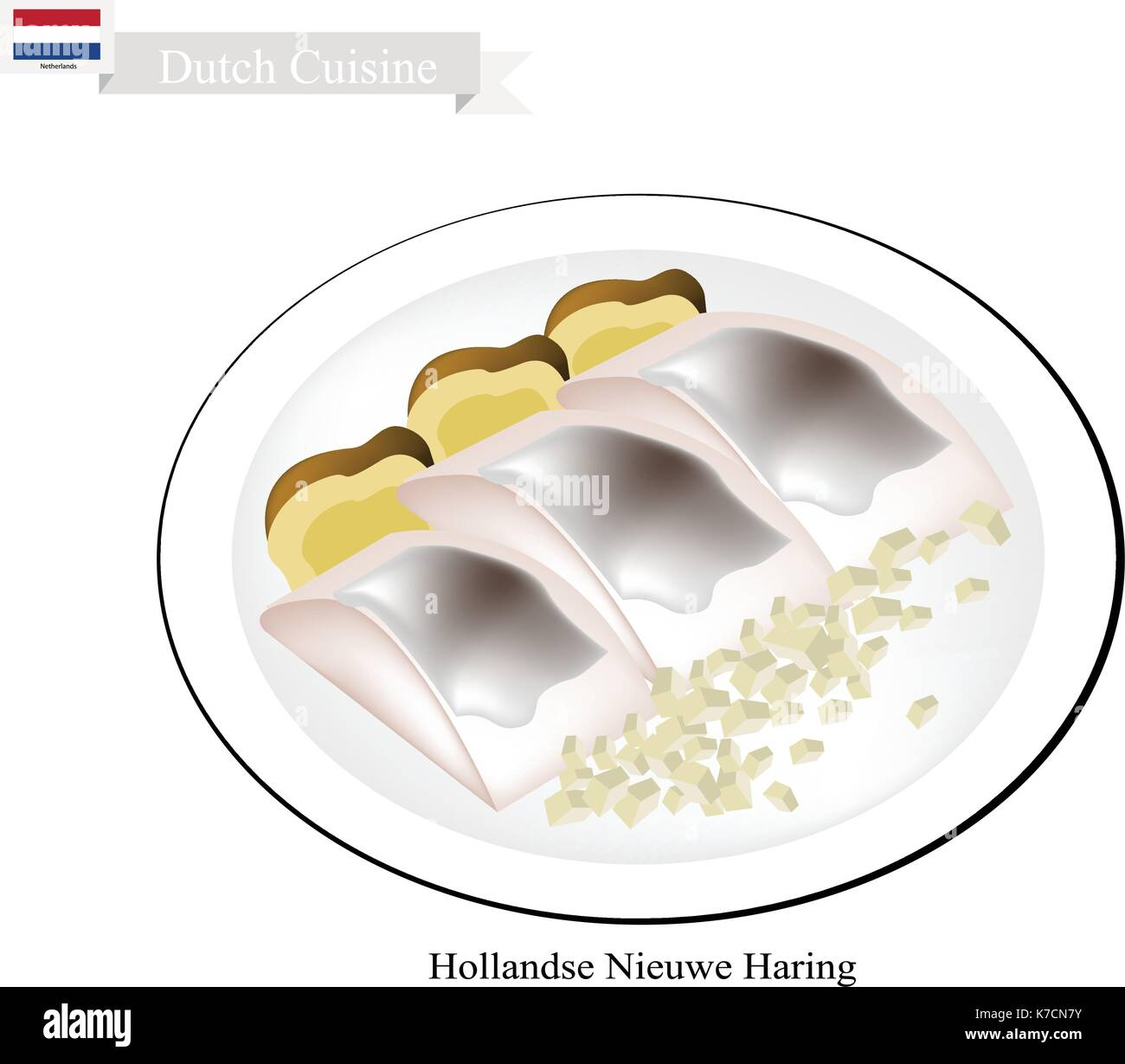 Niederländische Küche, Hollandse Nieuwe Haring Oder Traditionelle Rohstoffe  Und Leicht Gesalzenem Hering. Stockbild