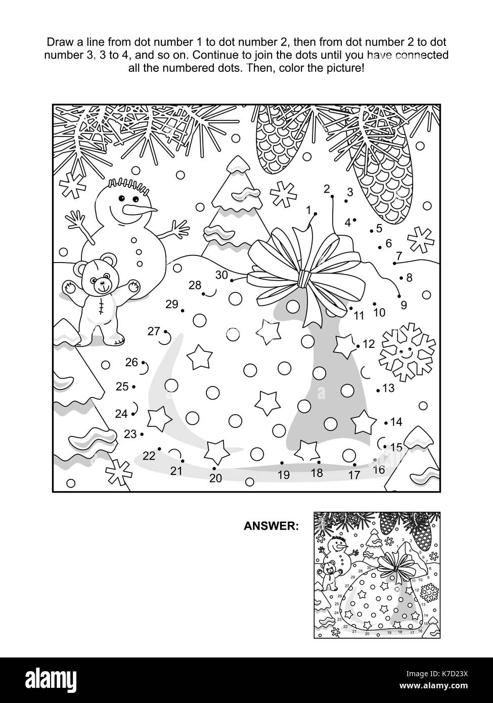 Connect Dots Coloring Page Teddy Stockfotos & Connect Dots Coloring ...