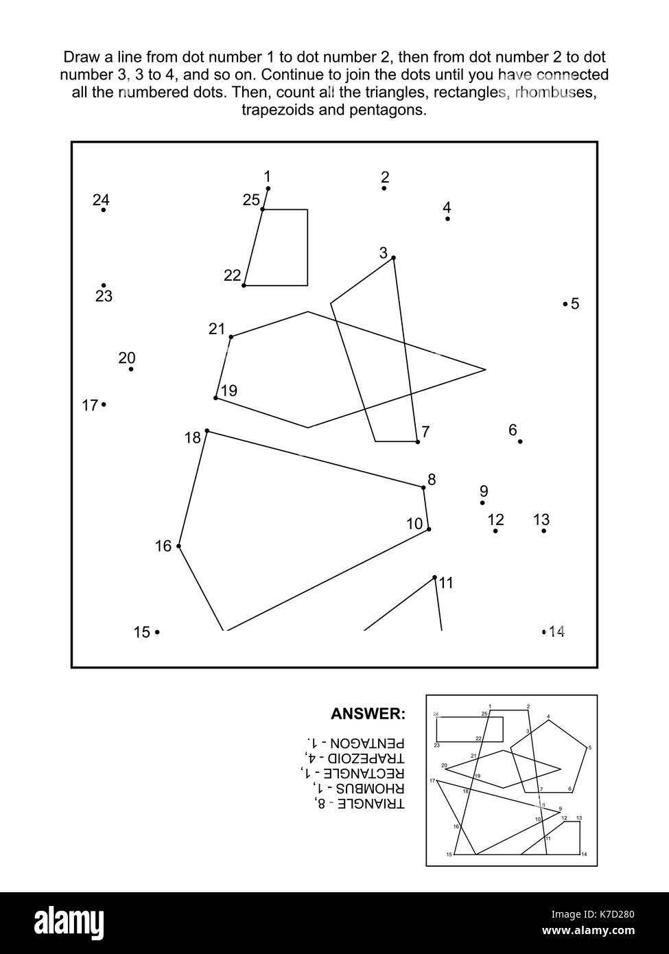 Mathe schließen Sie die Punkte Bild Puzzle und zählen Spiel: die ...