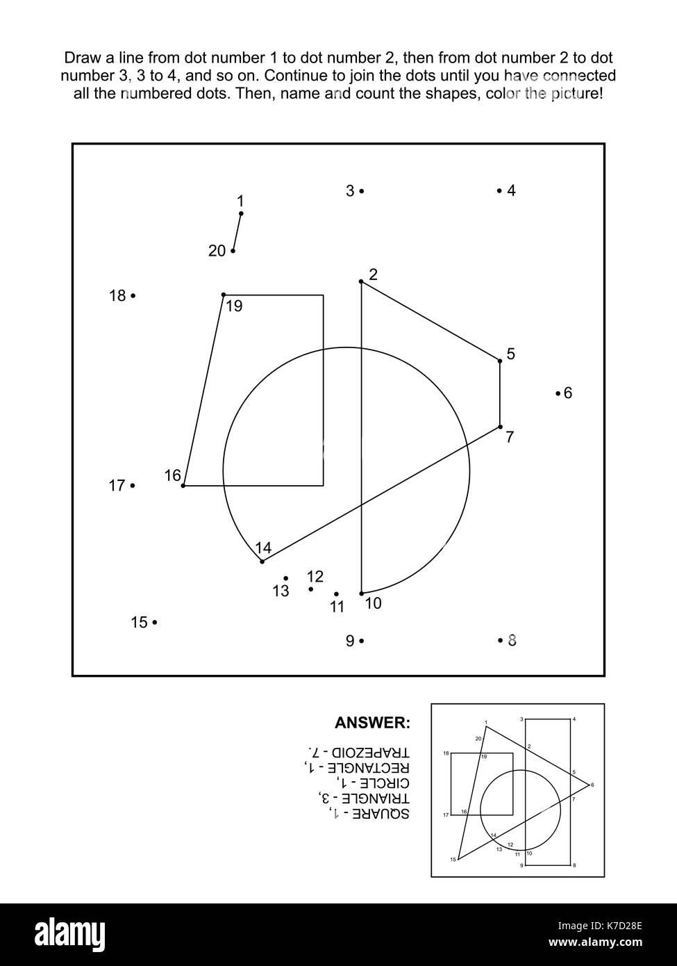Mathe schließen Sie die Punkte Bild Puzzle und Färbung: Die Punkte ...