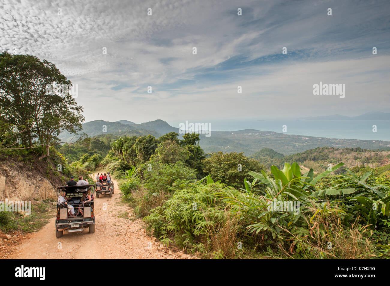 Jeeps voller Touristen auf den Spuren durch die Insel Koh Samui, Thailand Stockbild
