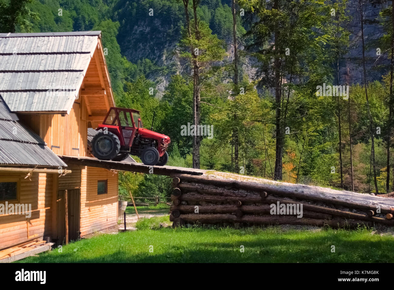 farm machinery with barn stockfotos farm machinery with. Black Bedroom Furniture Sets. Home Design Ideas