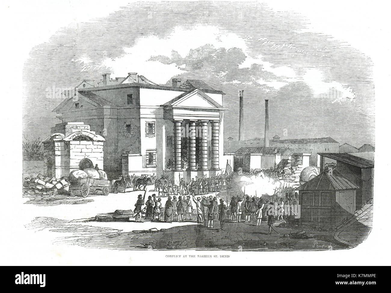 Konflikt an der Schranke St. Denis, Paris, Frankreich, die französische Revolution von 1848 Stockbild