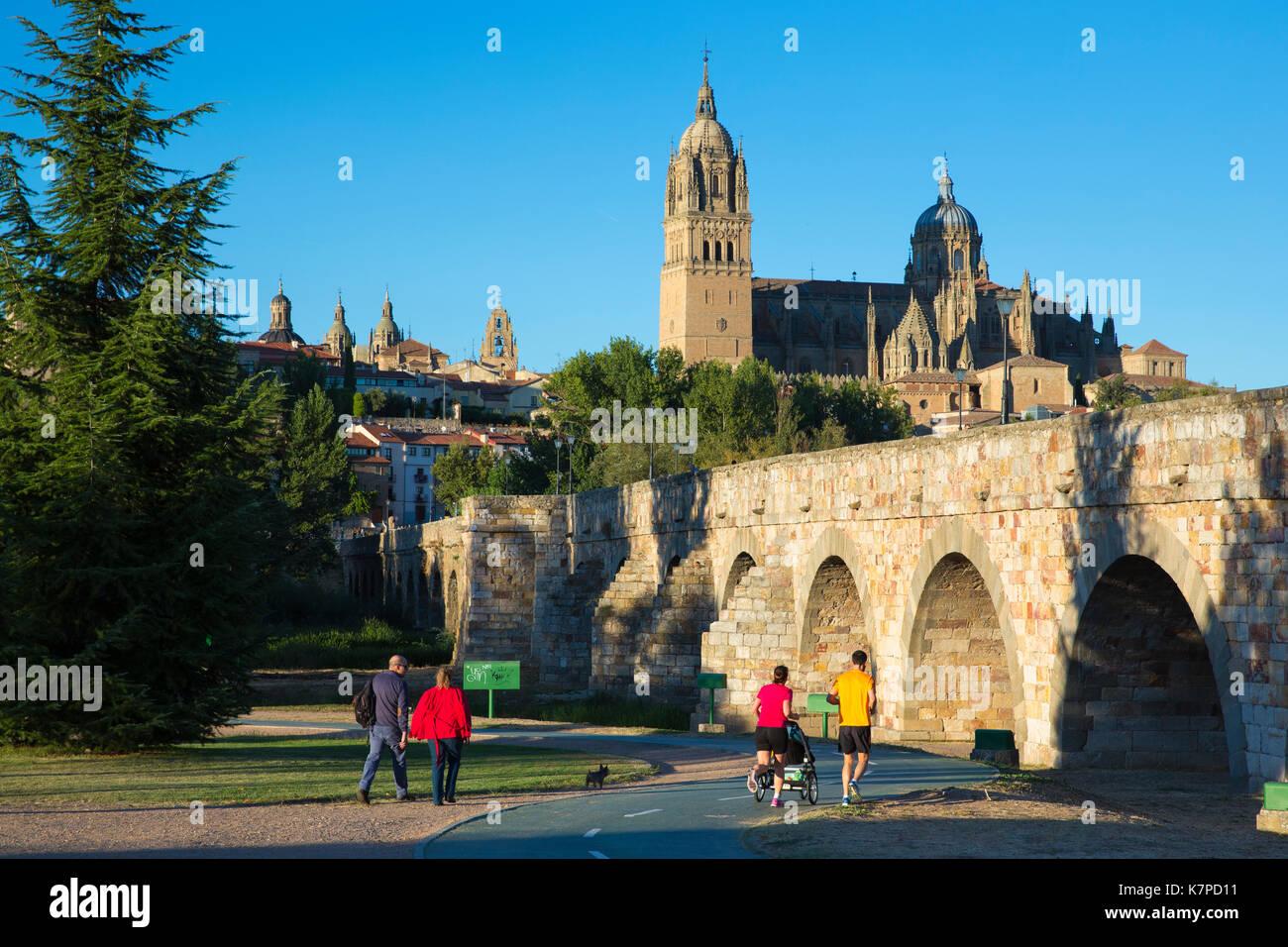 Salamanca - Dom- und Universitätsstadt und Puente Romano Brücke, Spanien Stockbild