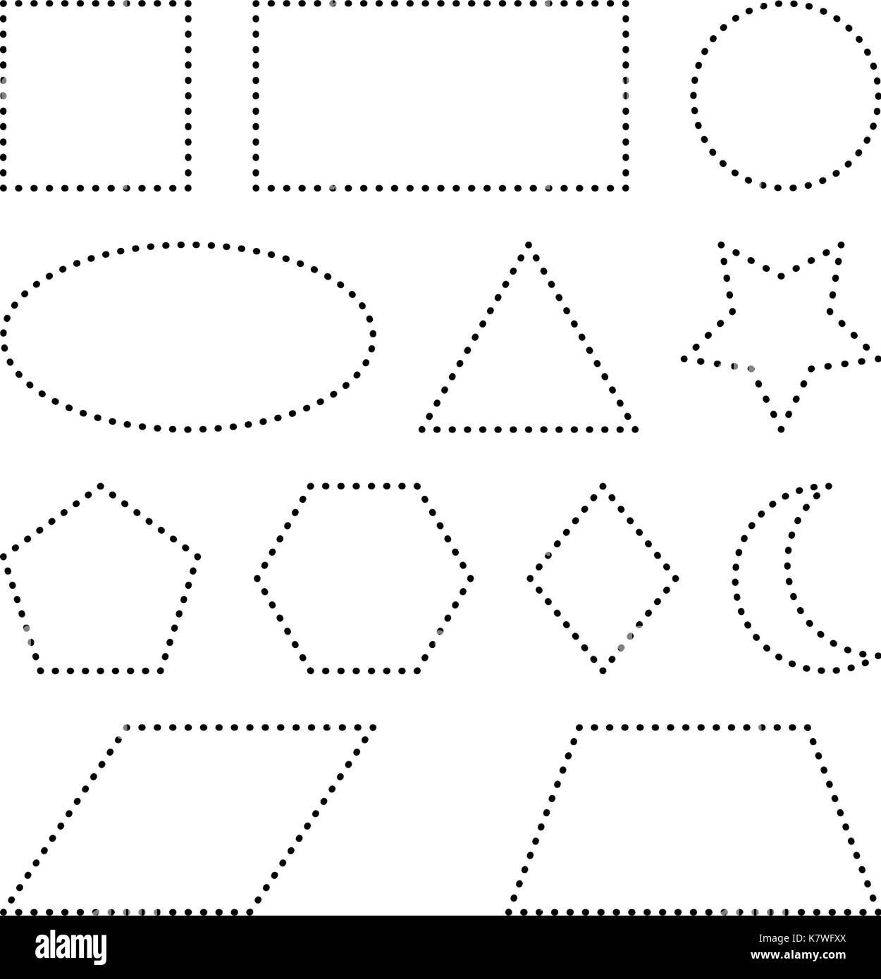 Geometrischen Grundformen Quadrat, Kreis, Oval, Dreieck, Sechseck ...