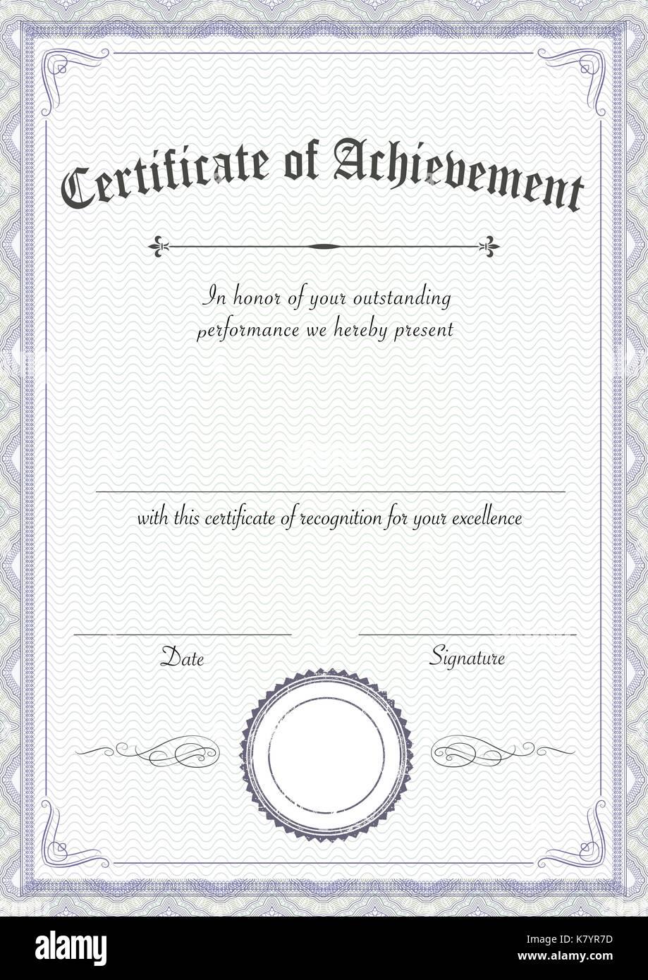 Award Certificate Template Stockfotos und -bilder Kaufen - Seite 24 In Award Of Excellence Certificate Template