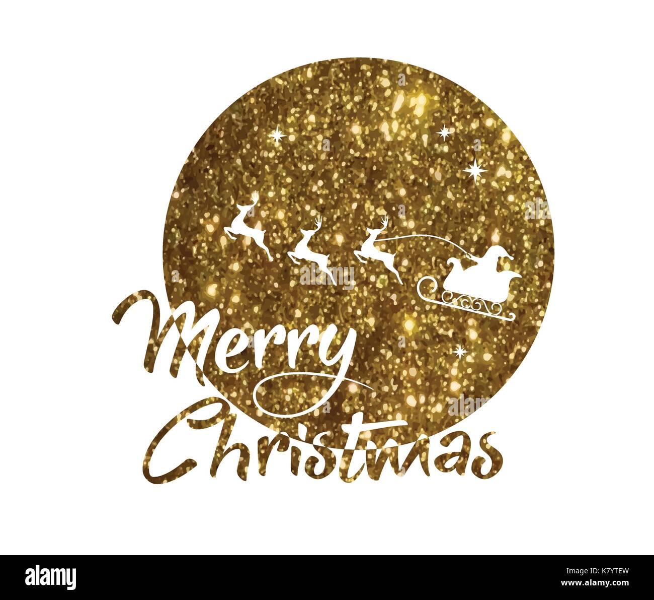Frohe Weihnachten Glitzer.Vektor Goldenen Glitzer Weihnachtsmann Rentier Und Mond Poster Mit