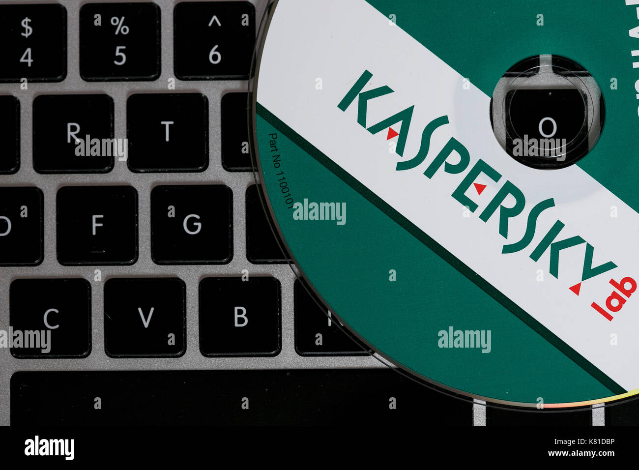 Kaspersky Lab Internet Security und Anti-Virus-Software Produkte. Die russischen Software-hersteller ist unter Nachforschung für seine engen Beziehungen zur Russland kommen Stockbild