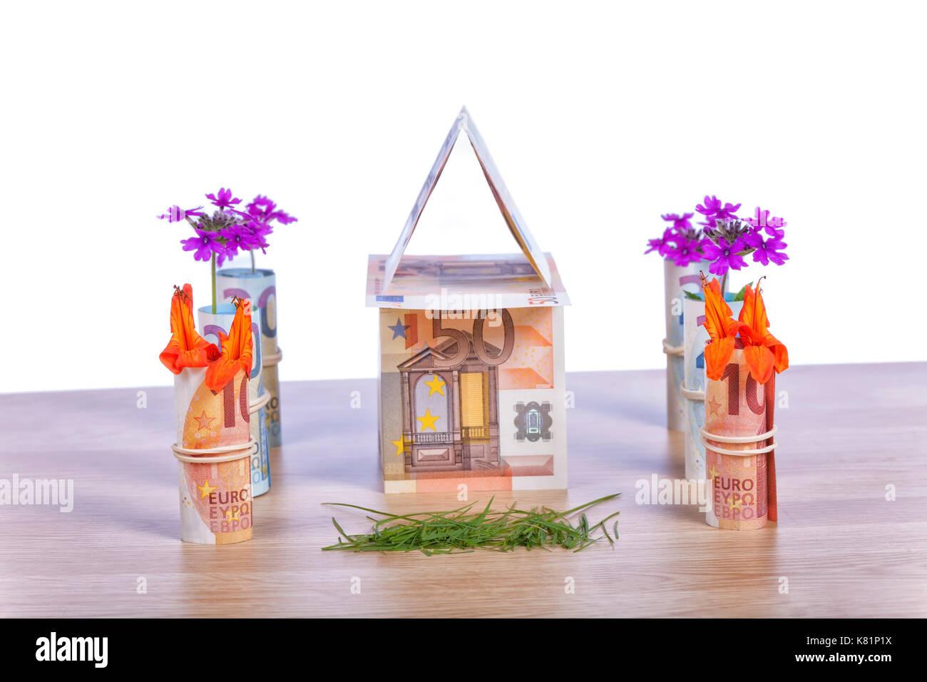 Finanzierung Ihrer Hypothek. Auf weissem Hintergrund. Stockbild