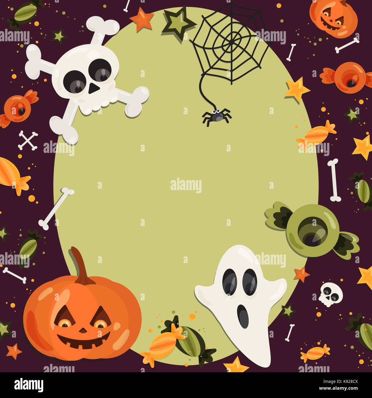 Halloween cartoon Art im flachen Stil. Grüner Hintergrund, Rahmen ...