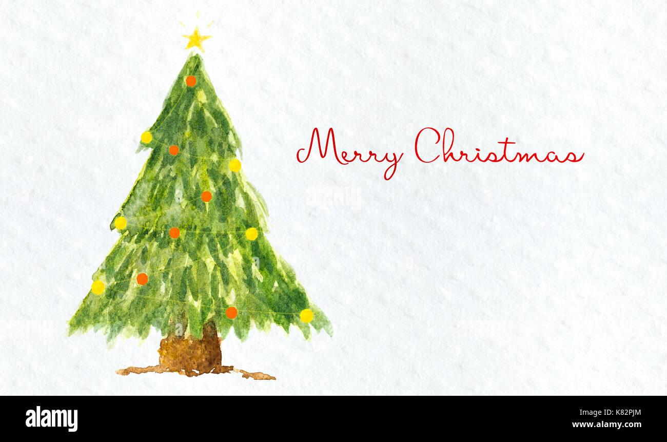 Frohe Weihnachten roten Text und Weihnachtsbaum auf aquarell papier ...