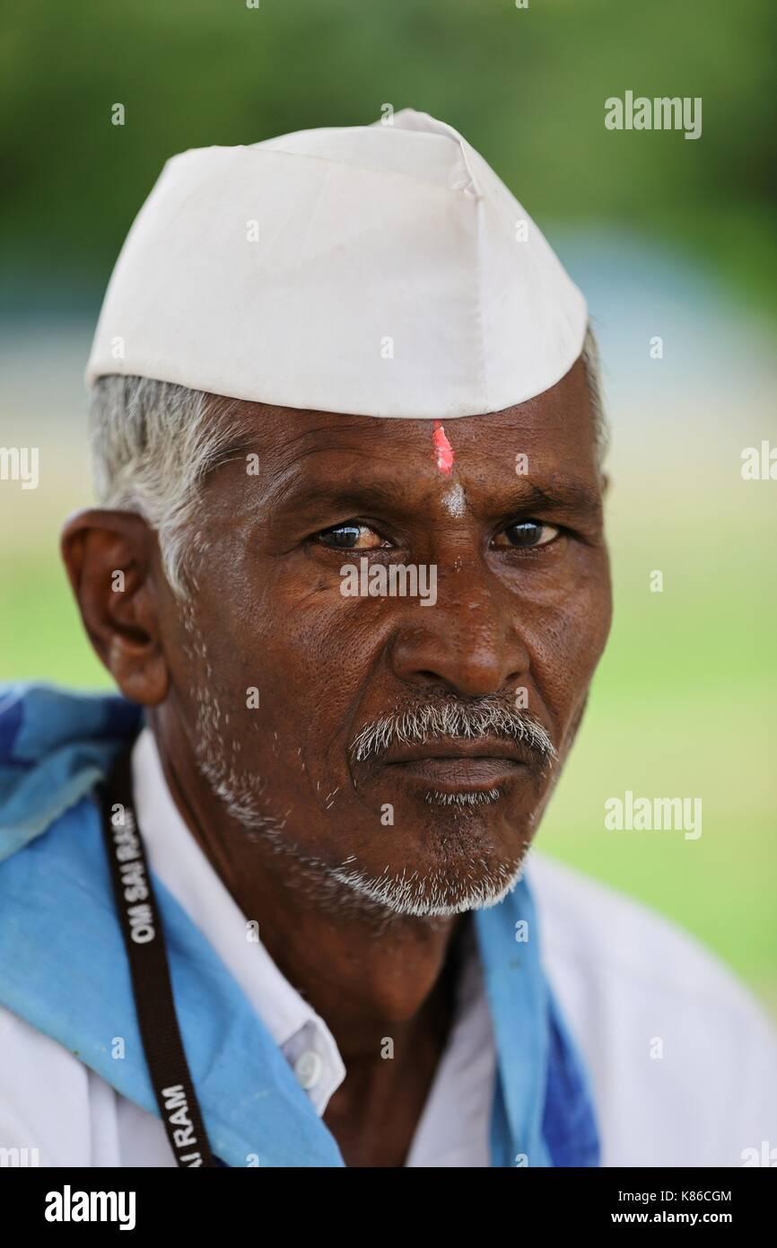 Sevadal am Sai Baba Ashram Stockfoto
