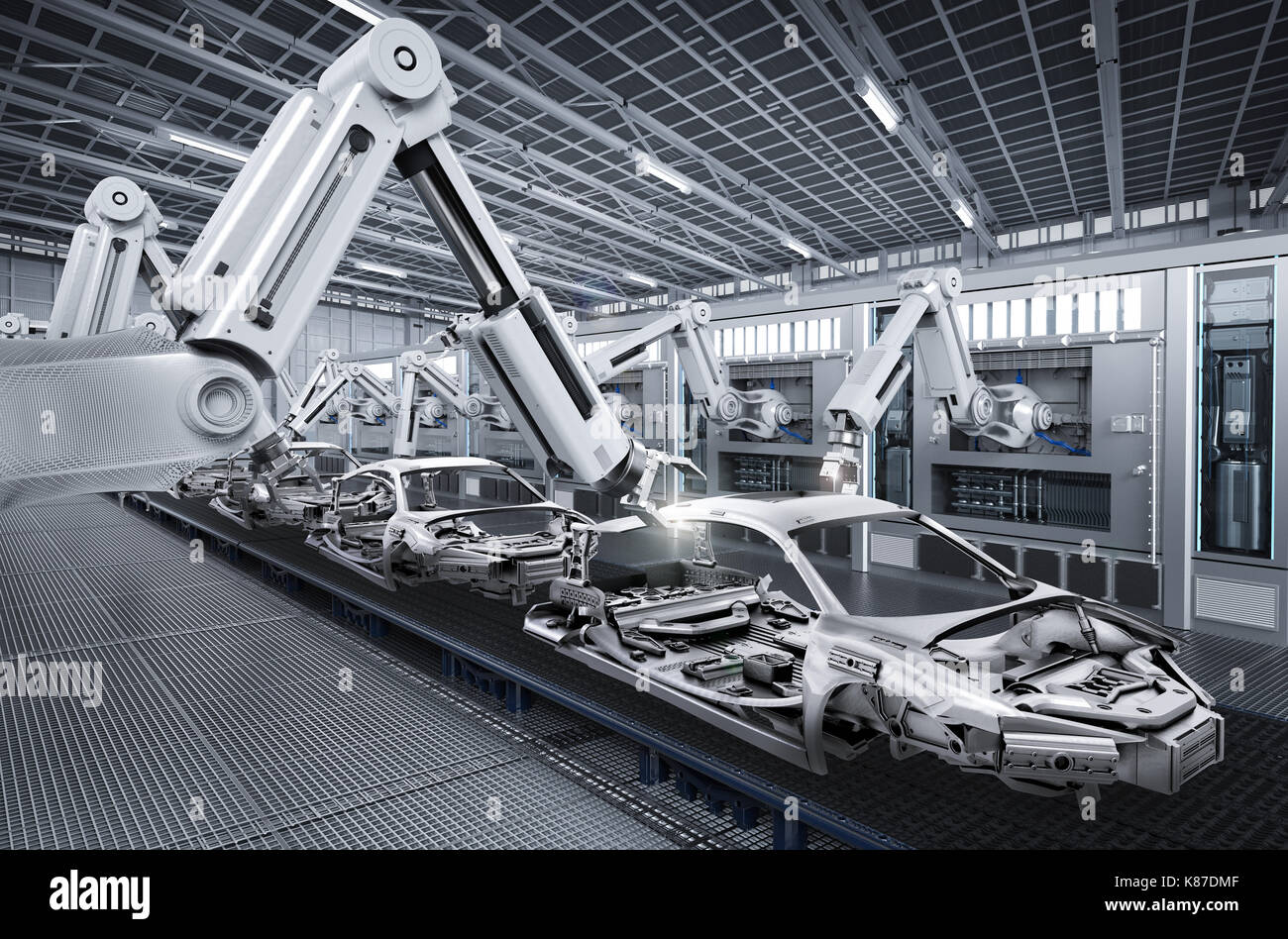 3D-rendering Roboter in der autofabrik Stockbild