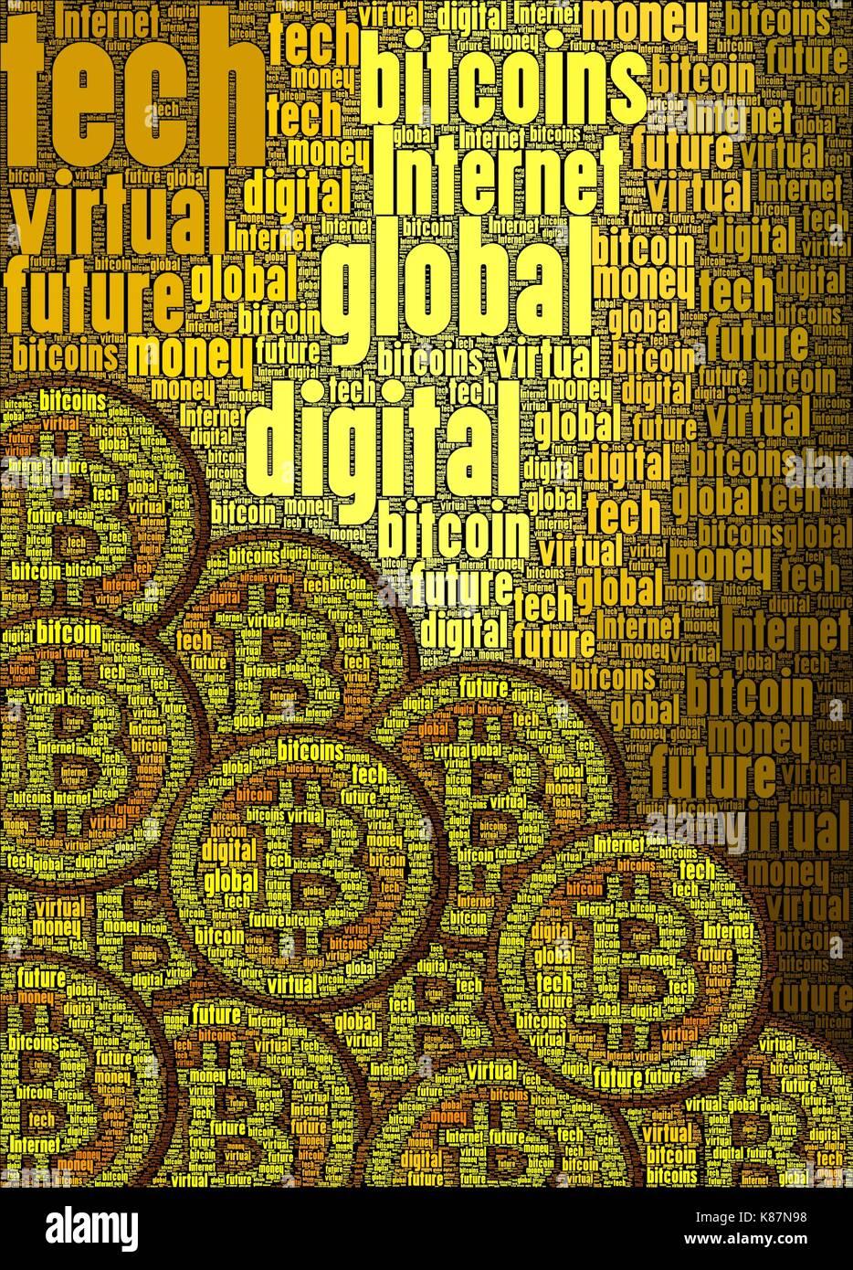 Bitcoin Konzept Kunst gemacht nur mit Worten über das Thema, senkrecht. Stockbild