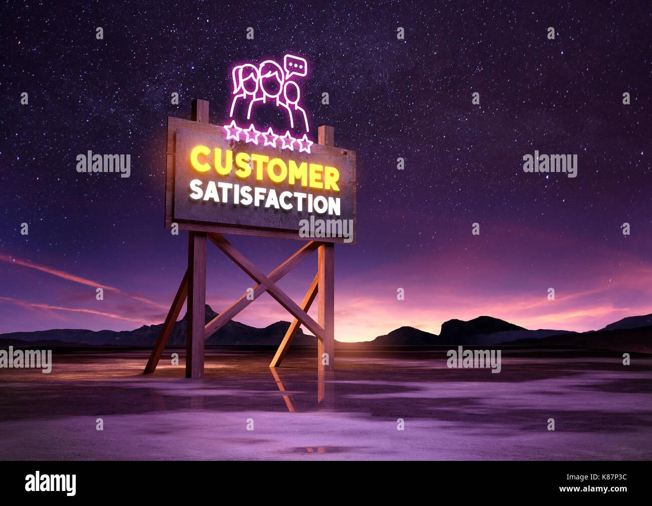 Kundenzufriedenheit neon Schild in der Nacht leuchten. Mixed media Abbildung Stockbild