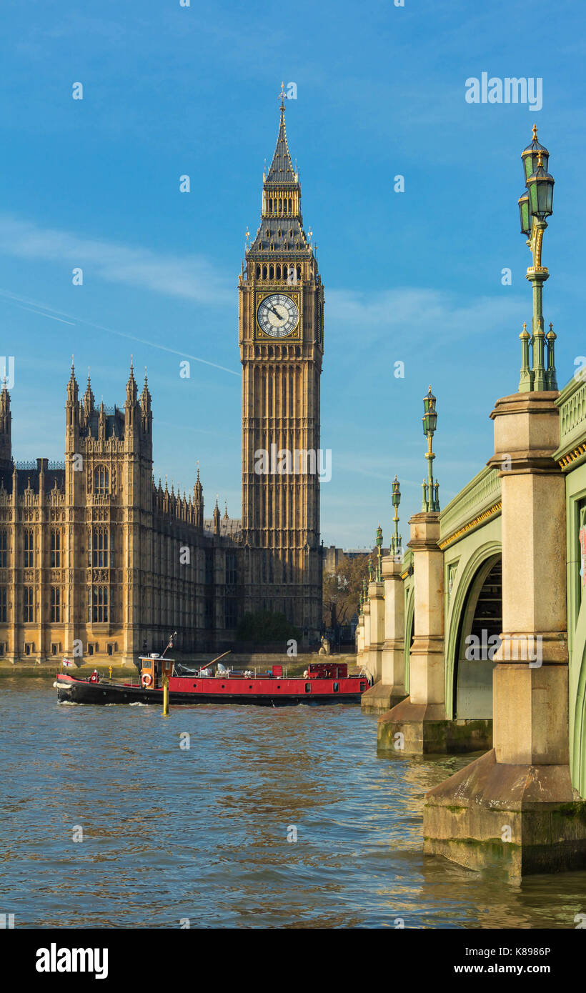Der Big Ben und Westminster Bridge, England, UK. Stockbild
