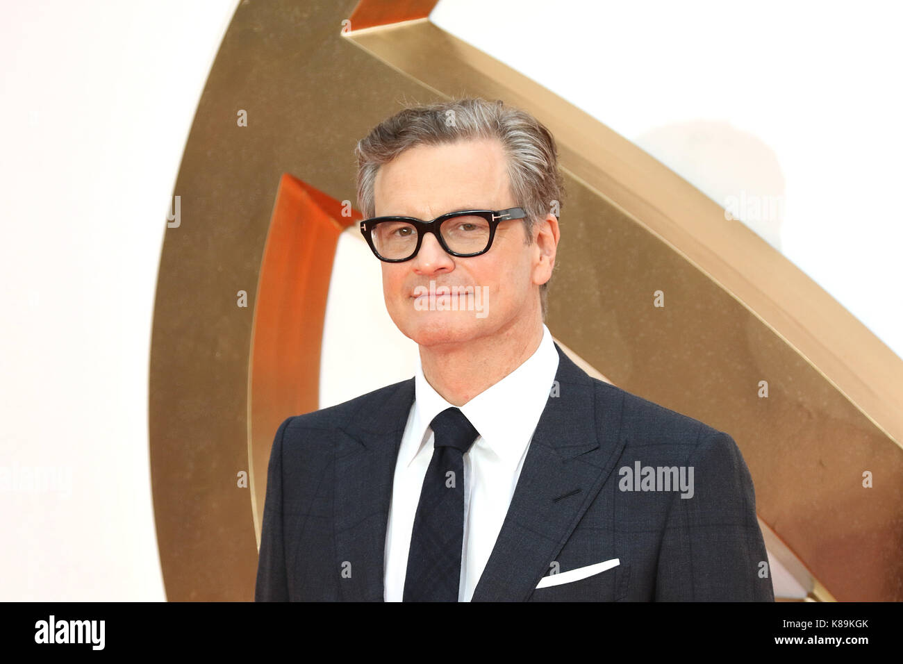 London, Großbritannien. 18 Sep, 2017. Colin Firth, Kingsman: Der Golden Circle - Weltpremiere, Leicester Square, Stockbild