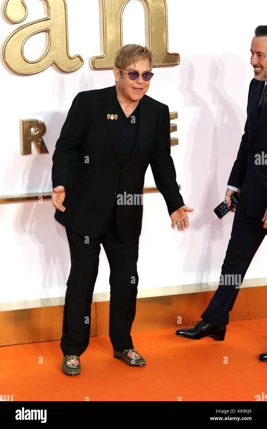 London, Großbritannien. 18 Sep, 2017. Elton John, Kingsman: Der Golden Circle - Weltpremiere, Leicester Square, Stockfoto