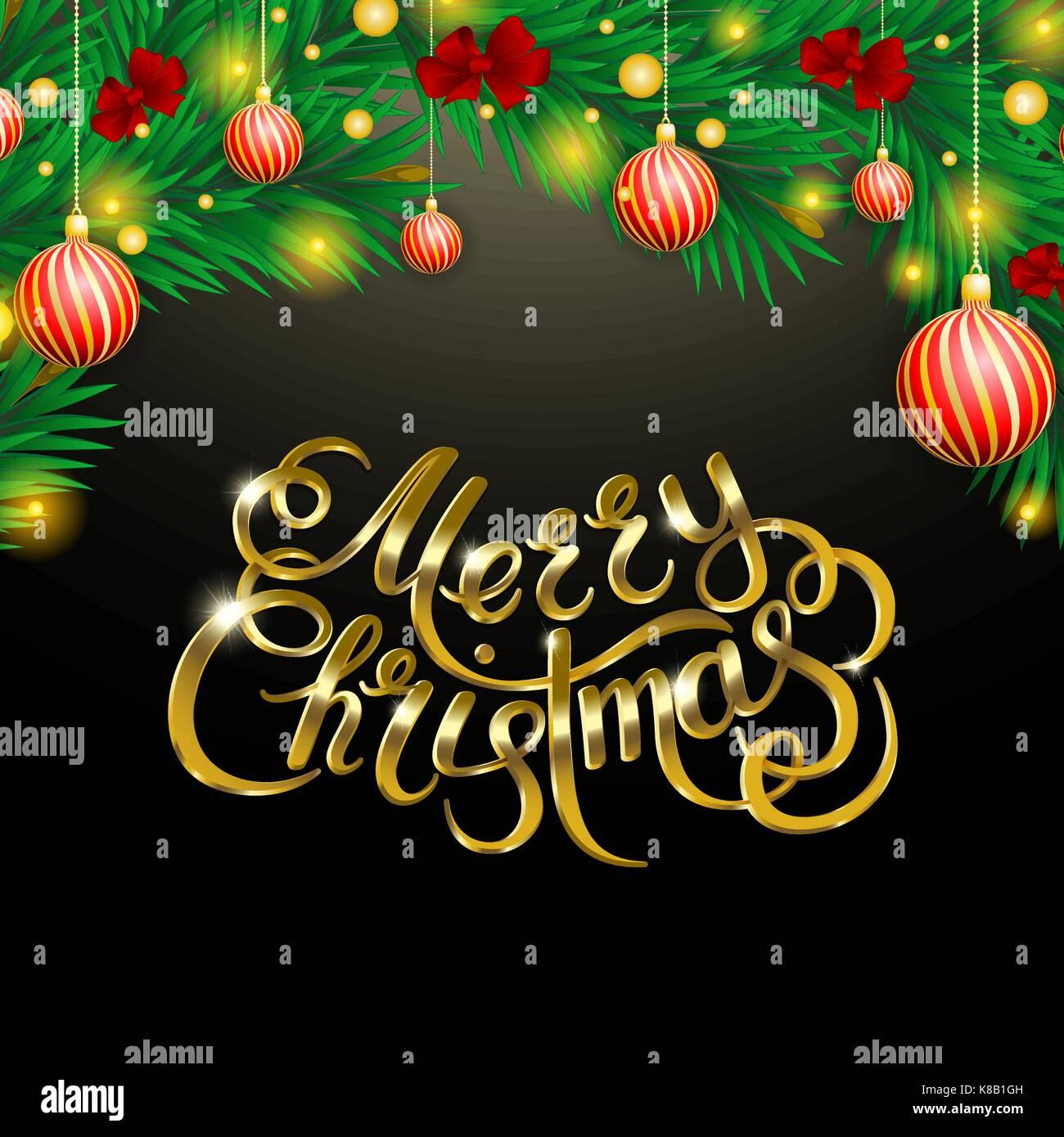 Goldene Schrift auf schwarzem Hintergrund. Frohe Weihnachten und ...