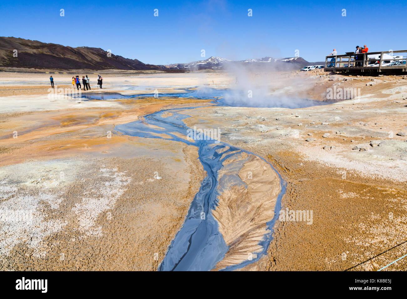 Námafjall Hverir geothermale Region, Island Stockbild