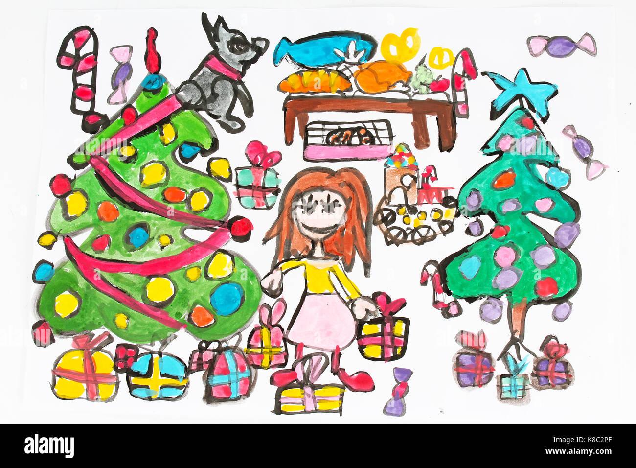 kind zeichnen zeichnen malen malerei ber weihnachten mit zwei tree zwei familie zu hause wie. Black Bedroom Furniture Sets. Home Design Ideas