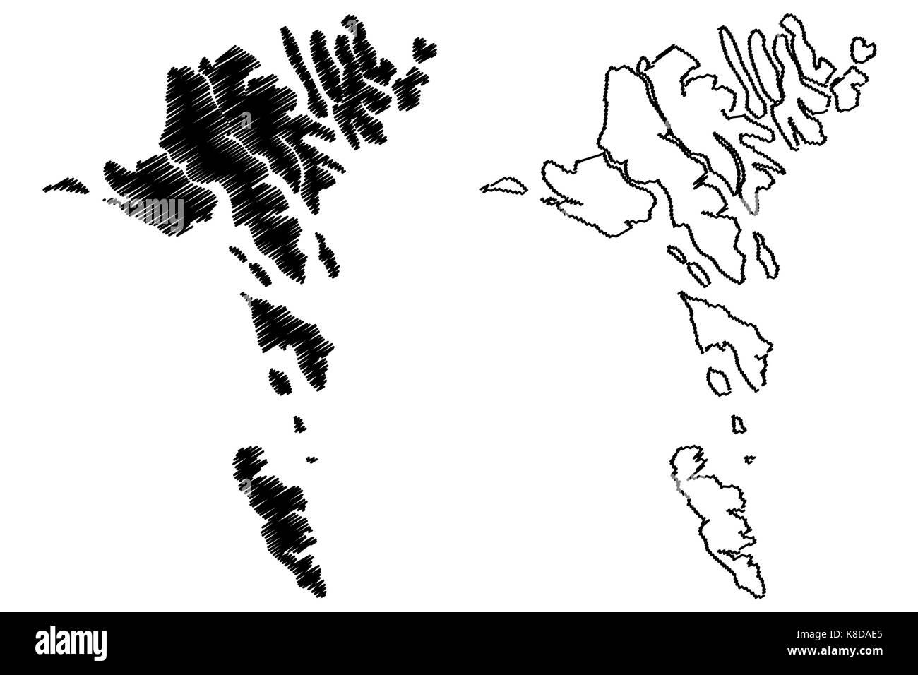 Faroer Inseln Karte Vektor Illustration Kritzeln Skizze Faroer