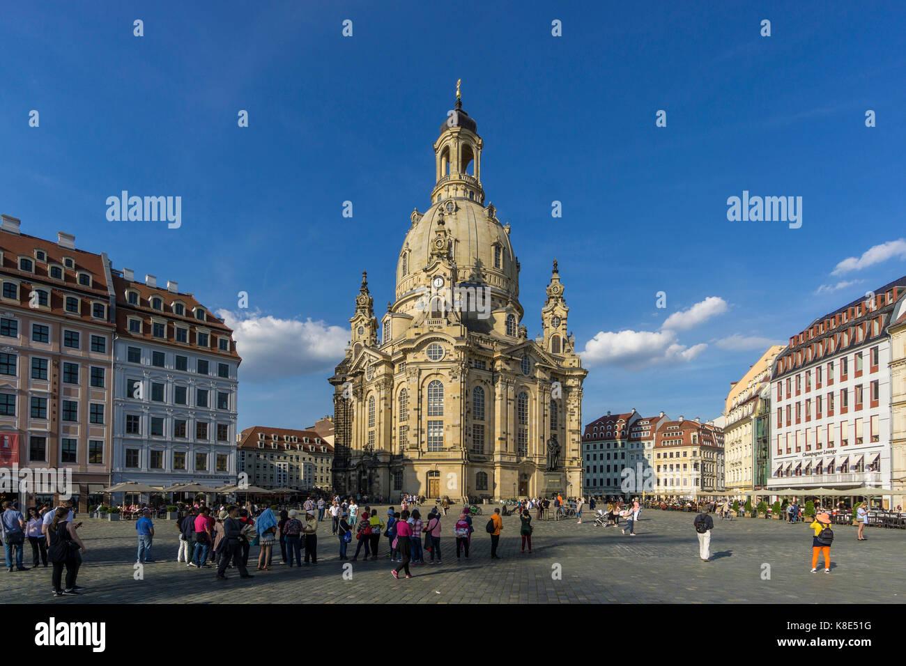 Dresden, Frauenkirche am Neuen Markt, die Frauenkirche auf dem Neumarkt Stockbild