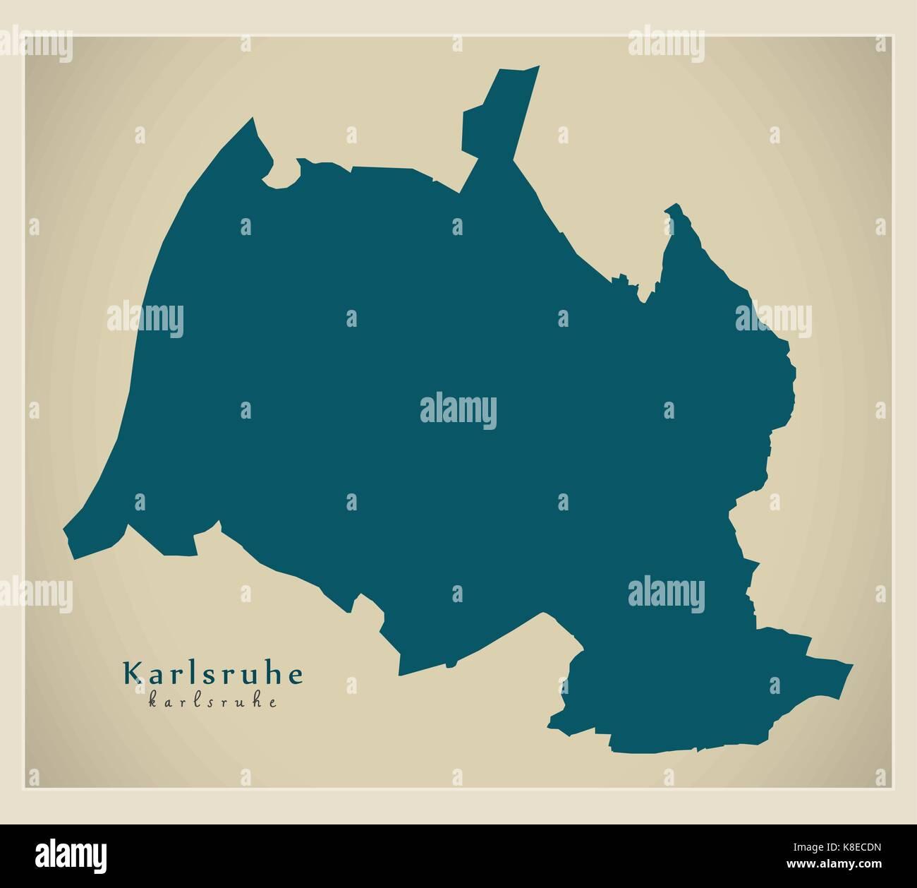 Moderne Karte Karlsruhe Stadt Deutschland De Vektor Abbildung