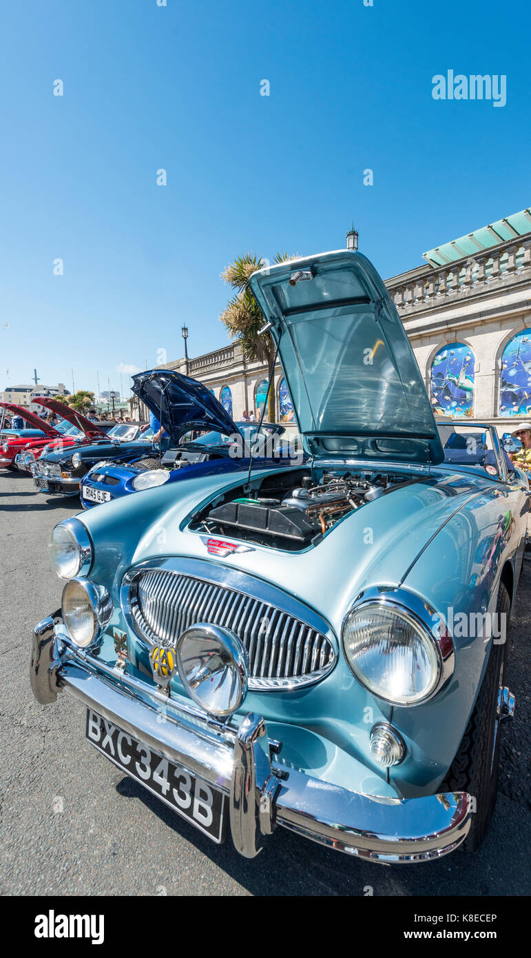 Ändern Austin Healey, Oldtimer, Brighton Beach, Ost Sussex, England Stockbild