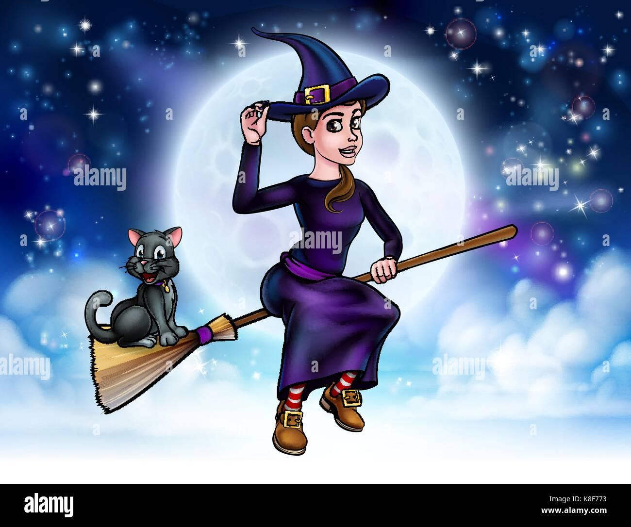 Halloween Hexe Und Katze Auf Besenstiel Vektor Abbildung Bild